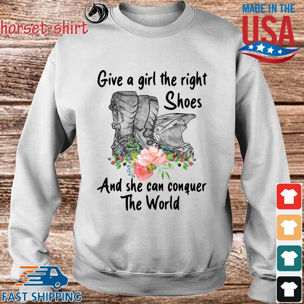 Give a girl the right shoes and she can conquer the world floral s Sweater trang
