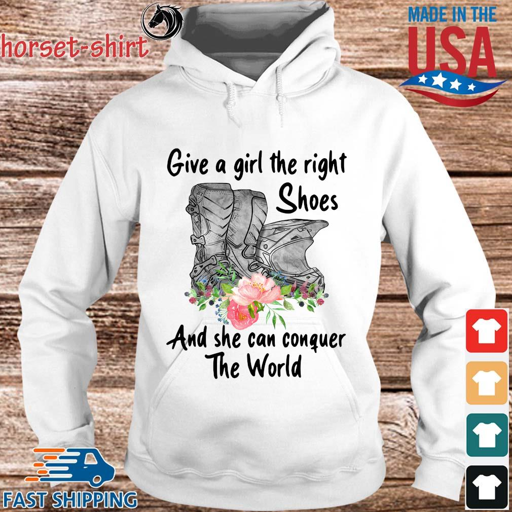 Give a girl the right shoes and she can conquer the world floral s hoodie trang