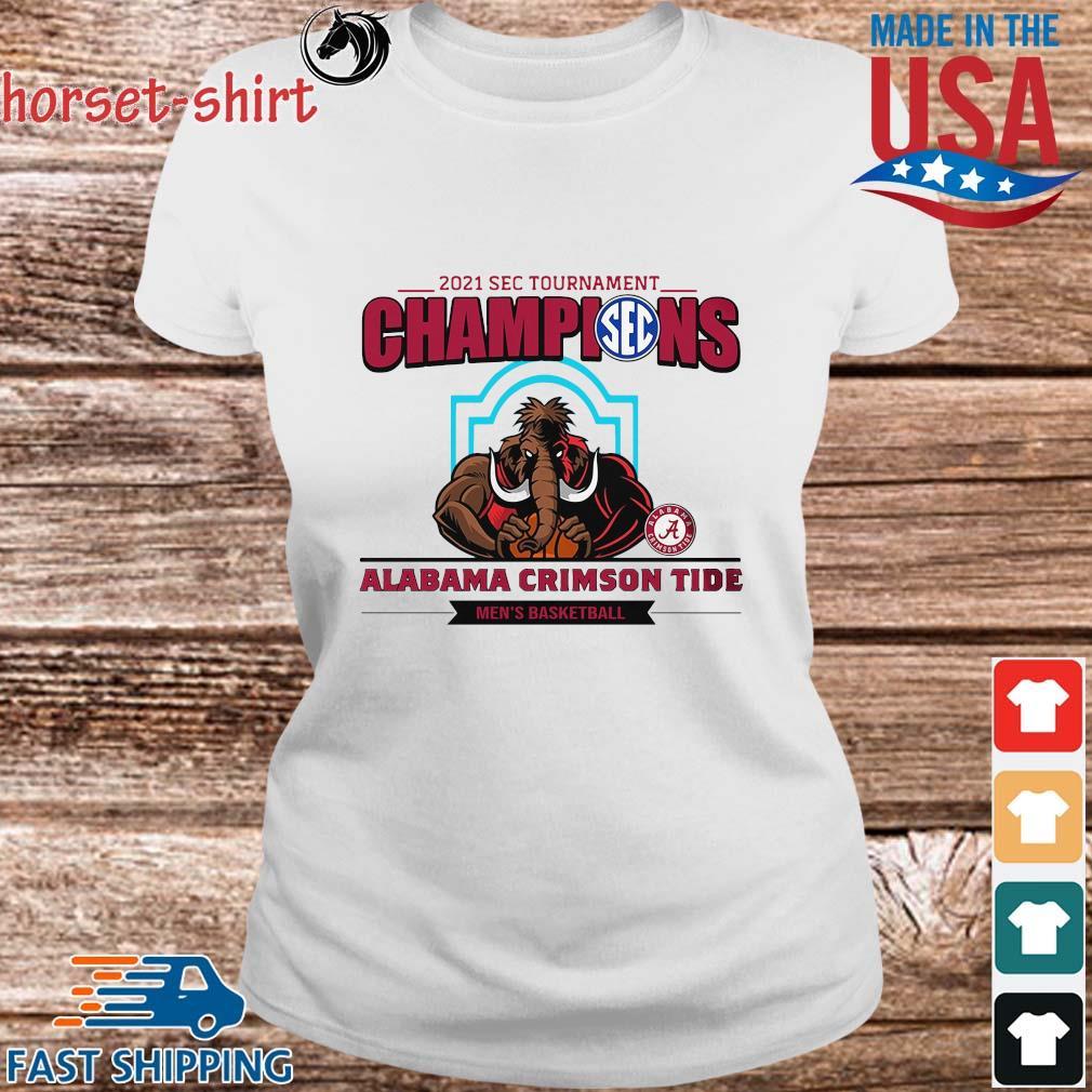 2021 Sec Tournament Champions Alabama Crimson Tide Men's Basketball Shirt Ladies trang