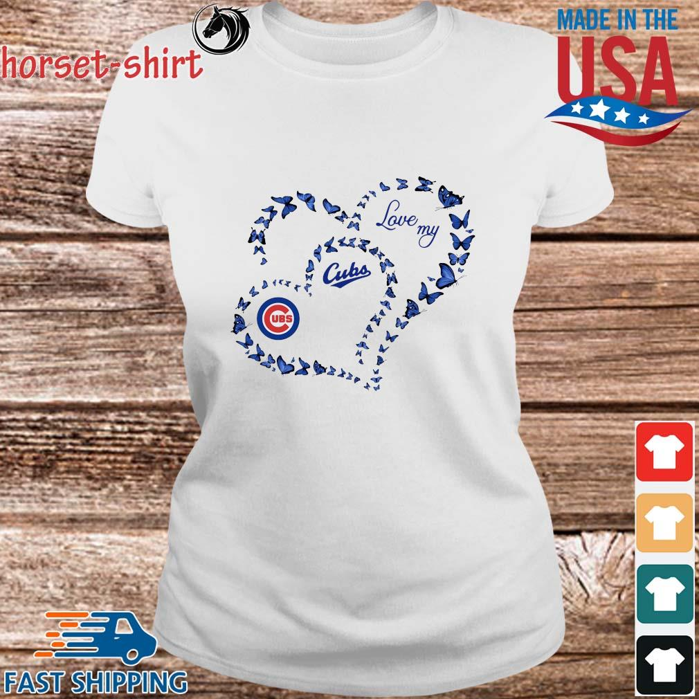 Butterfly Heart Chicago Cubs Love My Shirt Ladies trang
