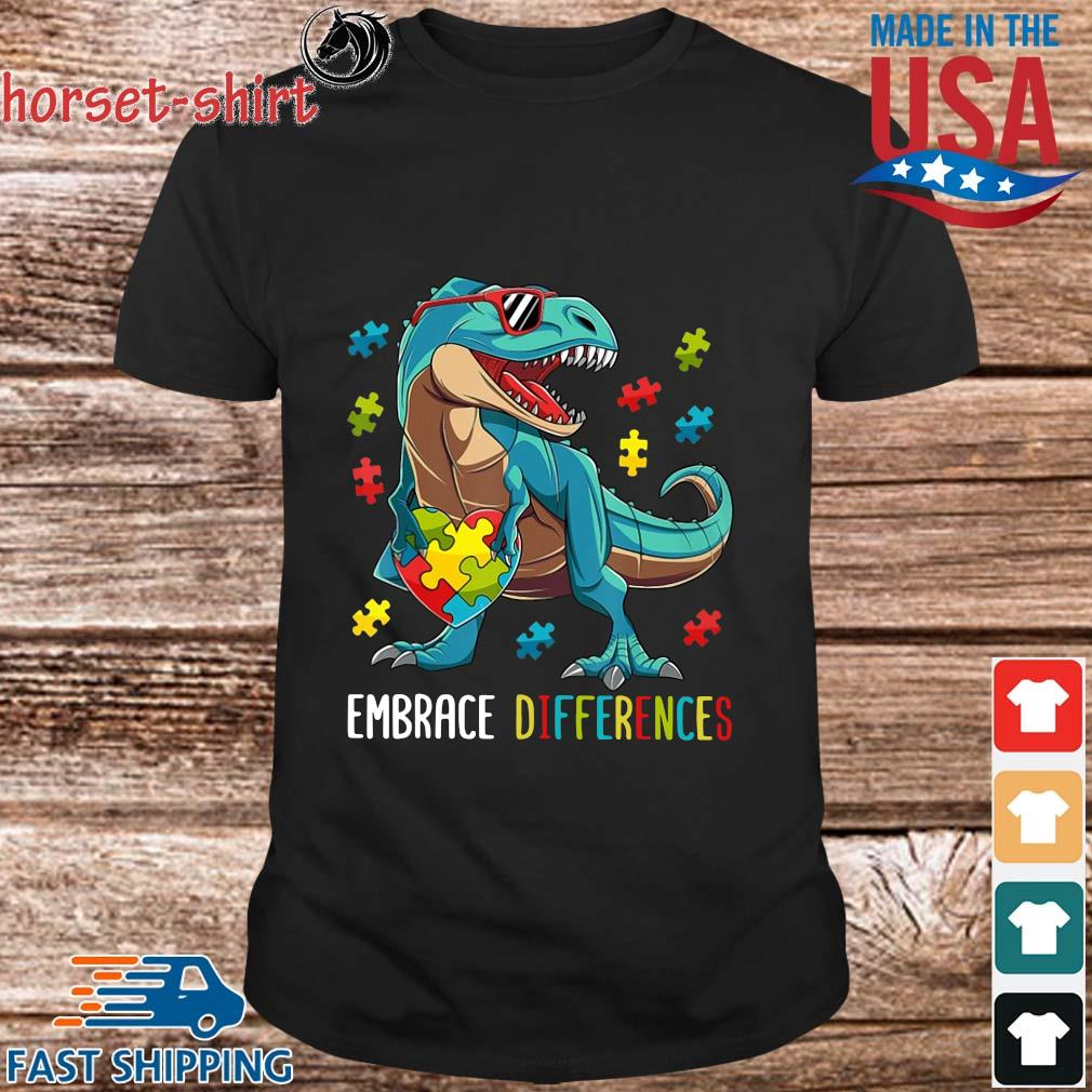 Dinosaurs Hug Autism Heart Embrace Differences Shirt
