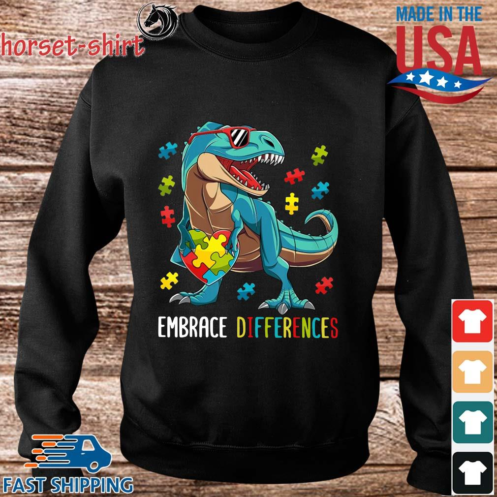 Dinosaurs Hug Autism Heart Embrace Differences Shirt Sweater den