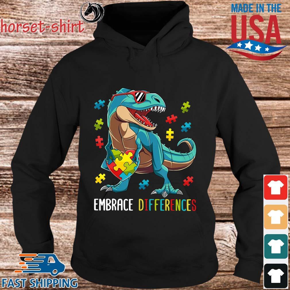 Dinosaurs Hug Autism Heart Embrace Differences Shirt hoodie den