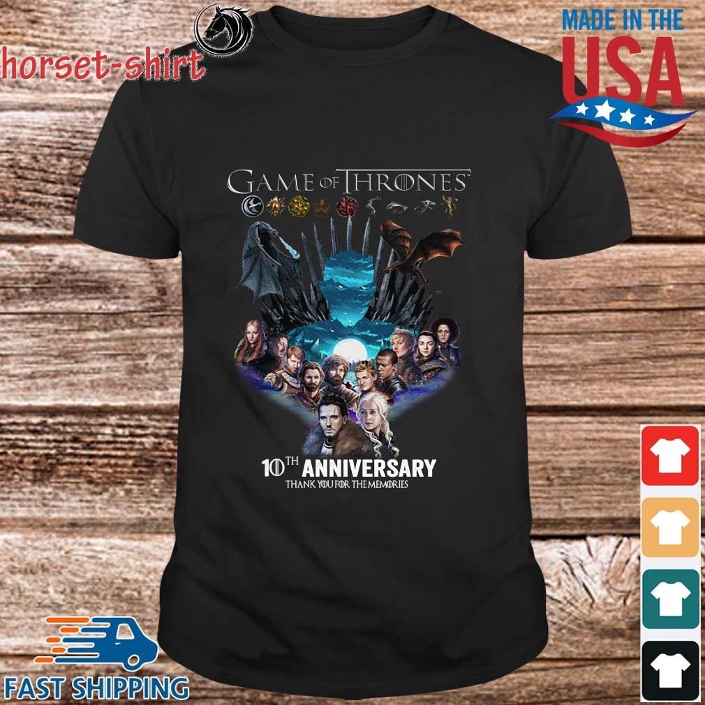 Game Of Thrones 10th anniversary thank you for the memories shirt