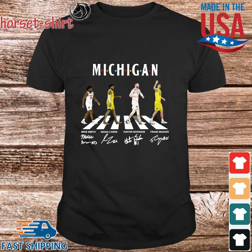 Michigan Mike Smith Isaiah Livers Hunter Dickinson Franz Wagner Abbey Road Signatures Shirt