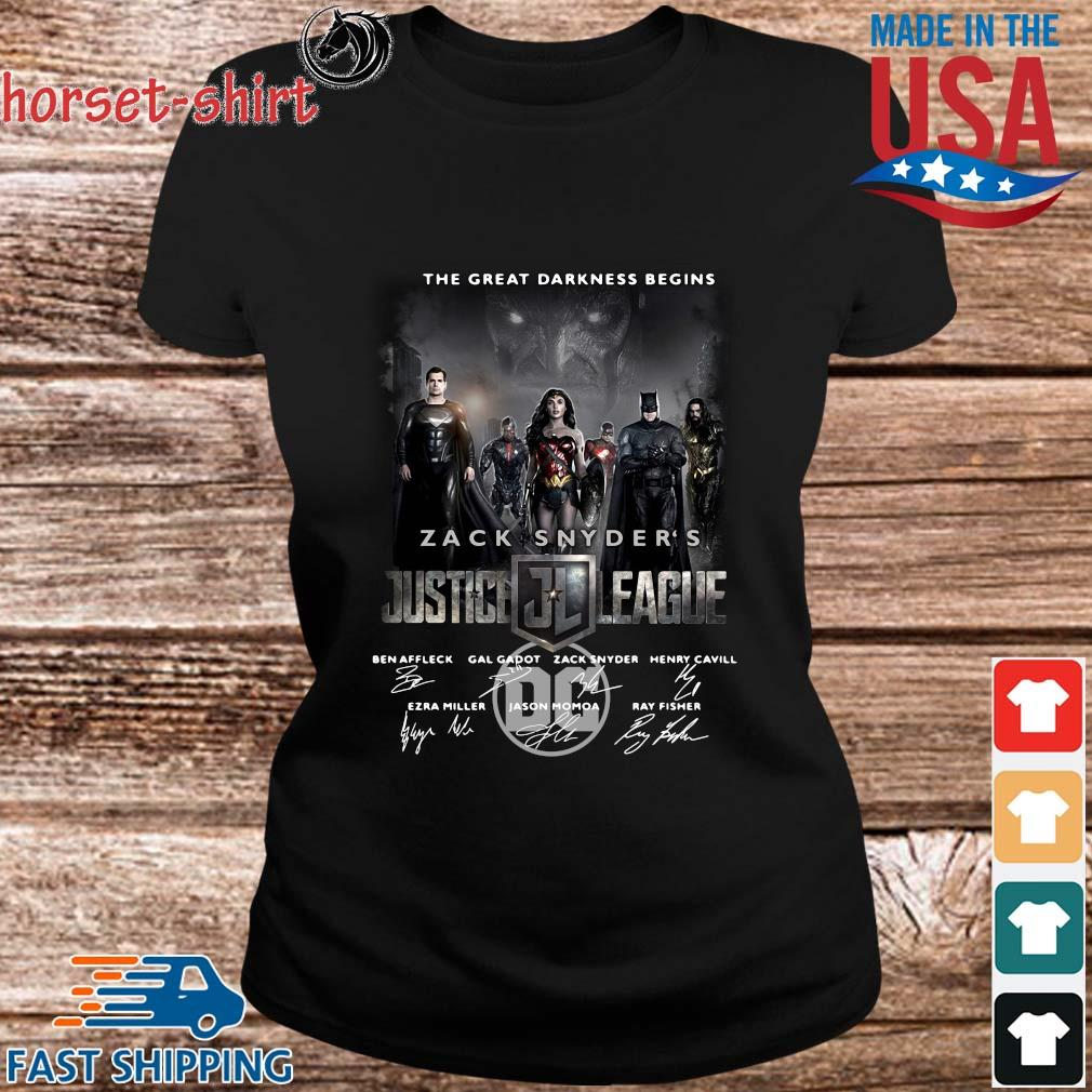 The Great Darkness Begins Zack Snyder_s Justice League Signatures Shirt ladies den