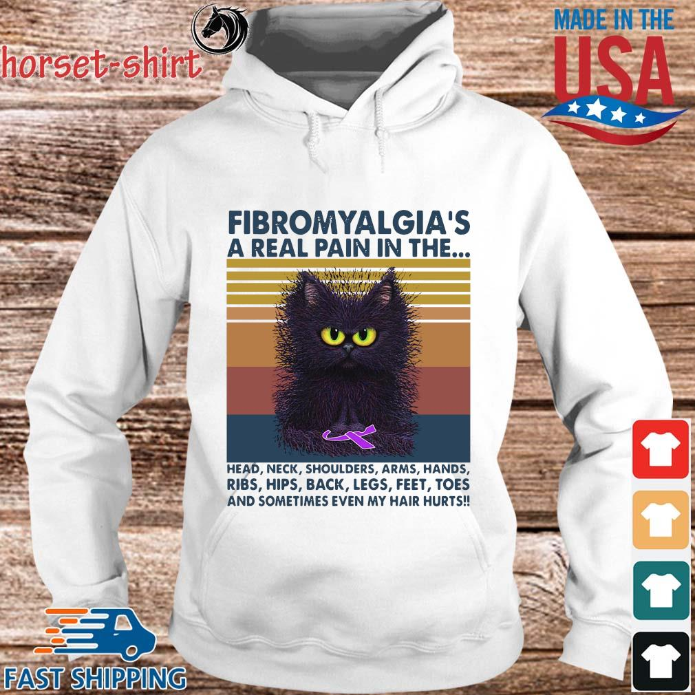 Cat fibromyalgia a real pain in the head neck shoulders arms hands vintage s hoodie trang
