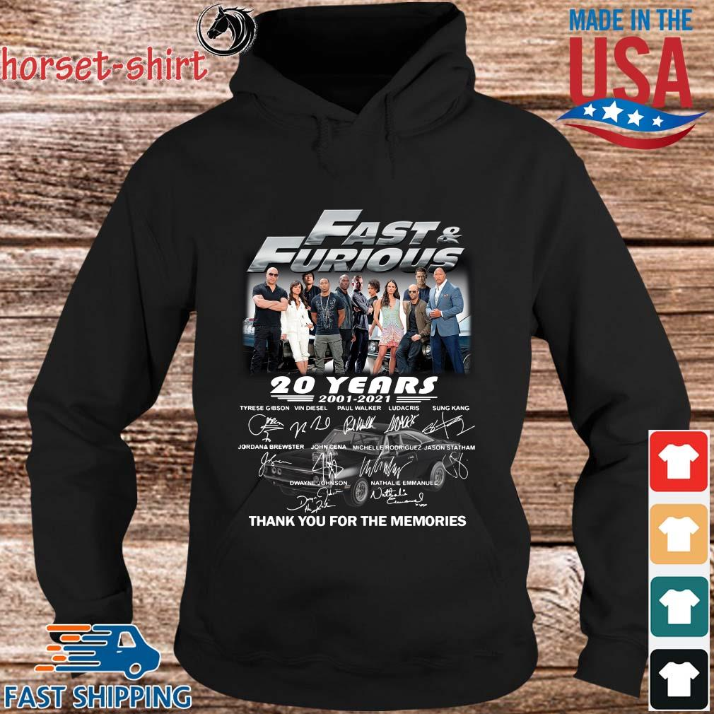 Fast And Furious 20 years 2001-2021 thank you for the memories signatures s hoodie den