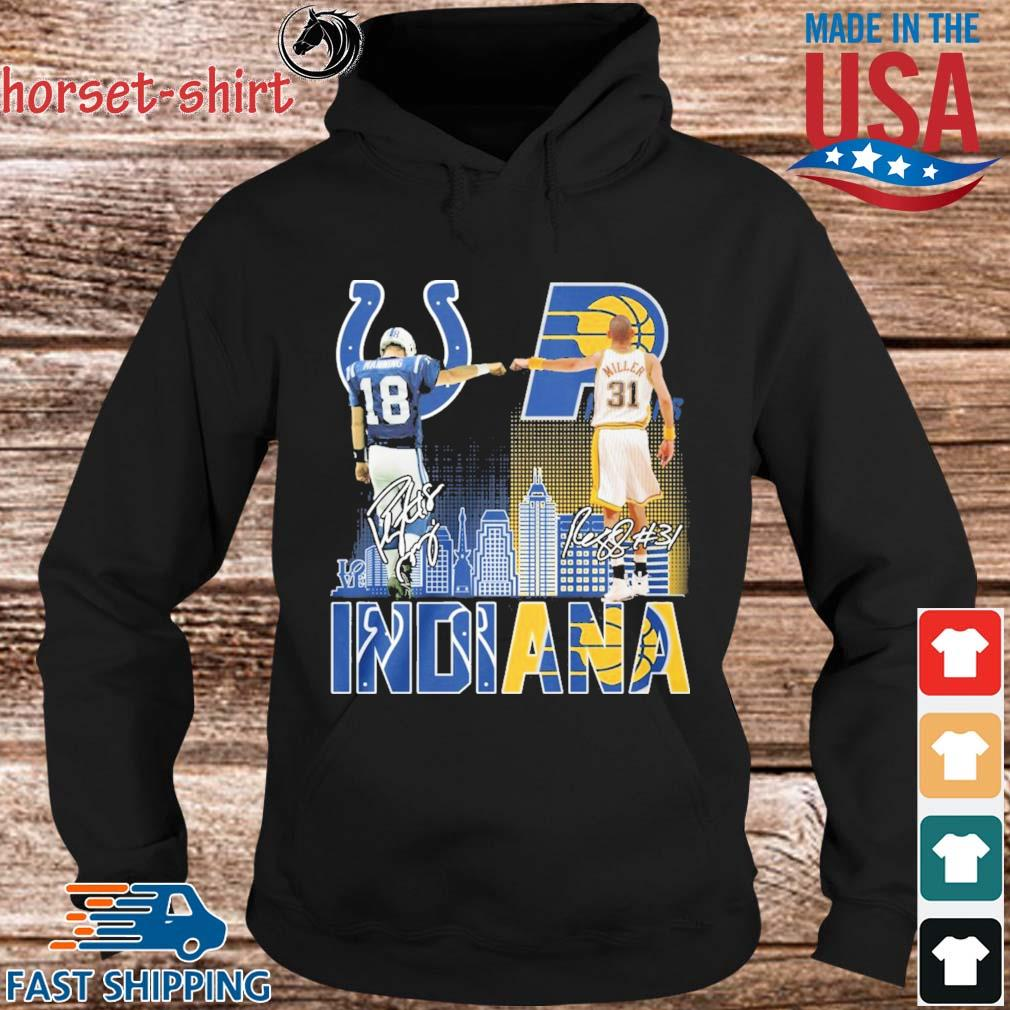 Manning Indianapolis Colts And Miller Indiana Pacers Indiana City Signatures 2021 Shirt Hoodie den