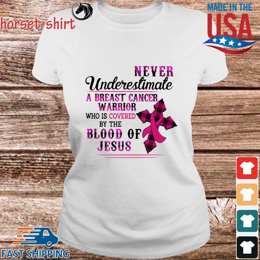Never underestimate a breast cancer warrior who is covered by the blood of Jesus s Ladies trang