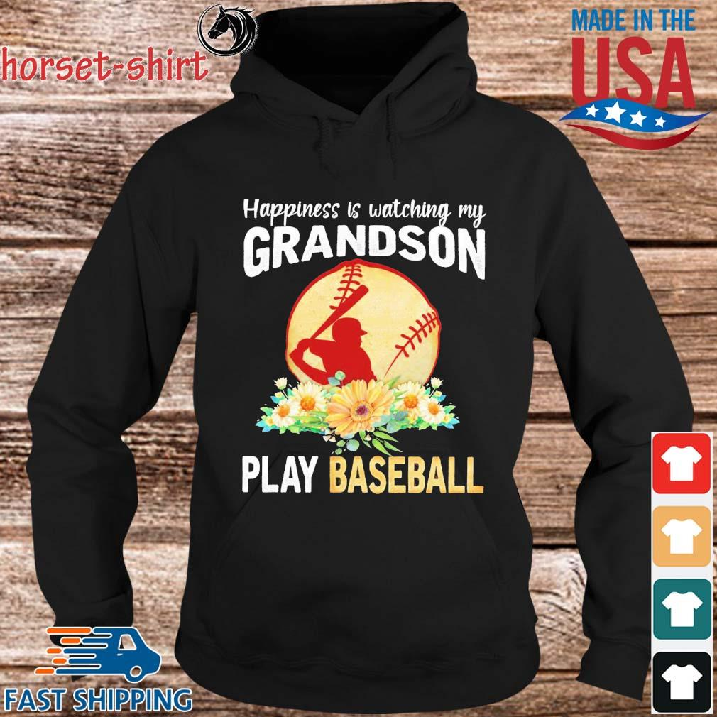 Happiness is watching my grandson play baseball flower s hoodie den