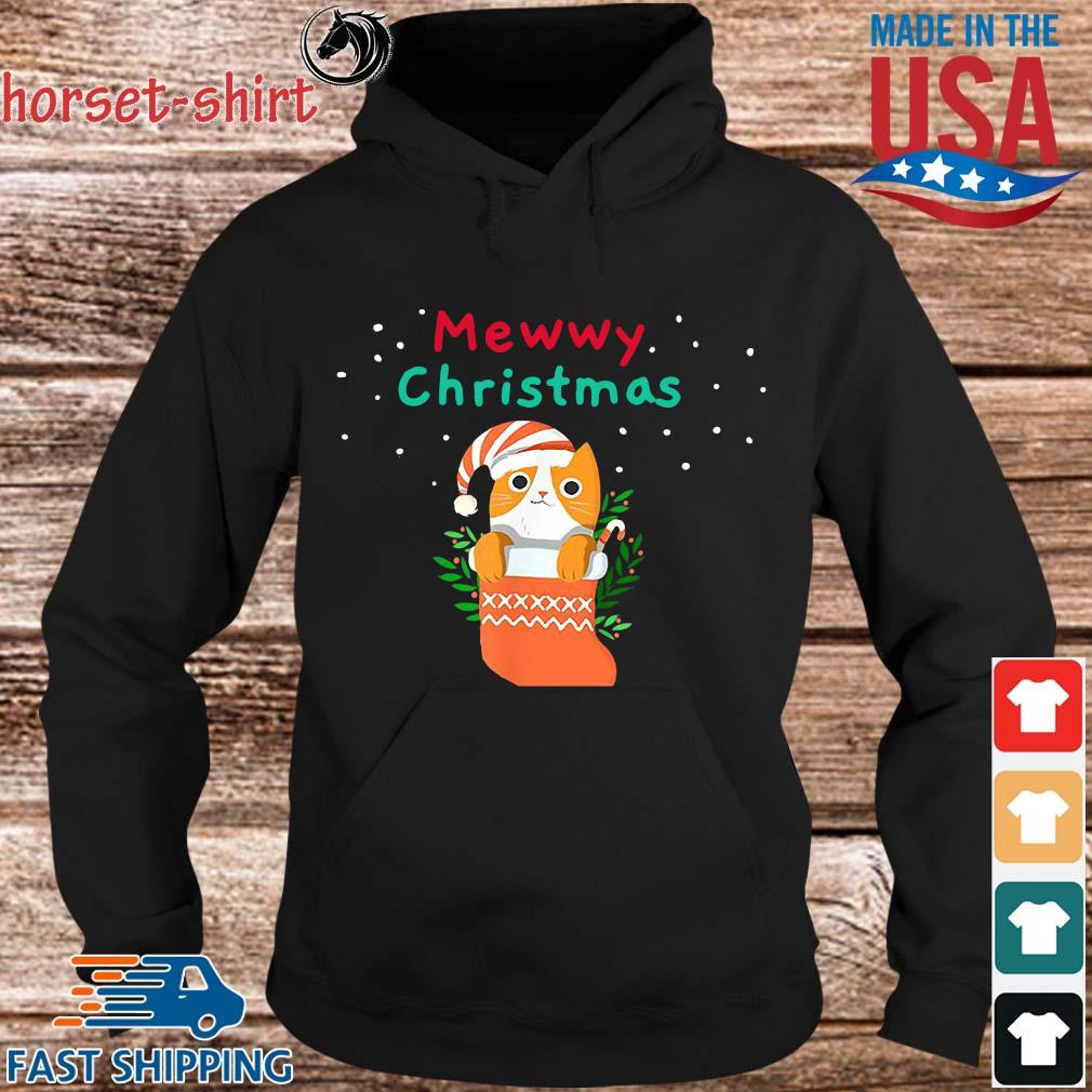 Mewwy christmas funny ginger tuxie kitty cat lovers holiday ts Hoodie den