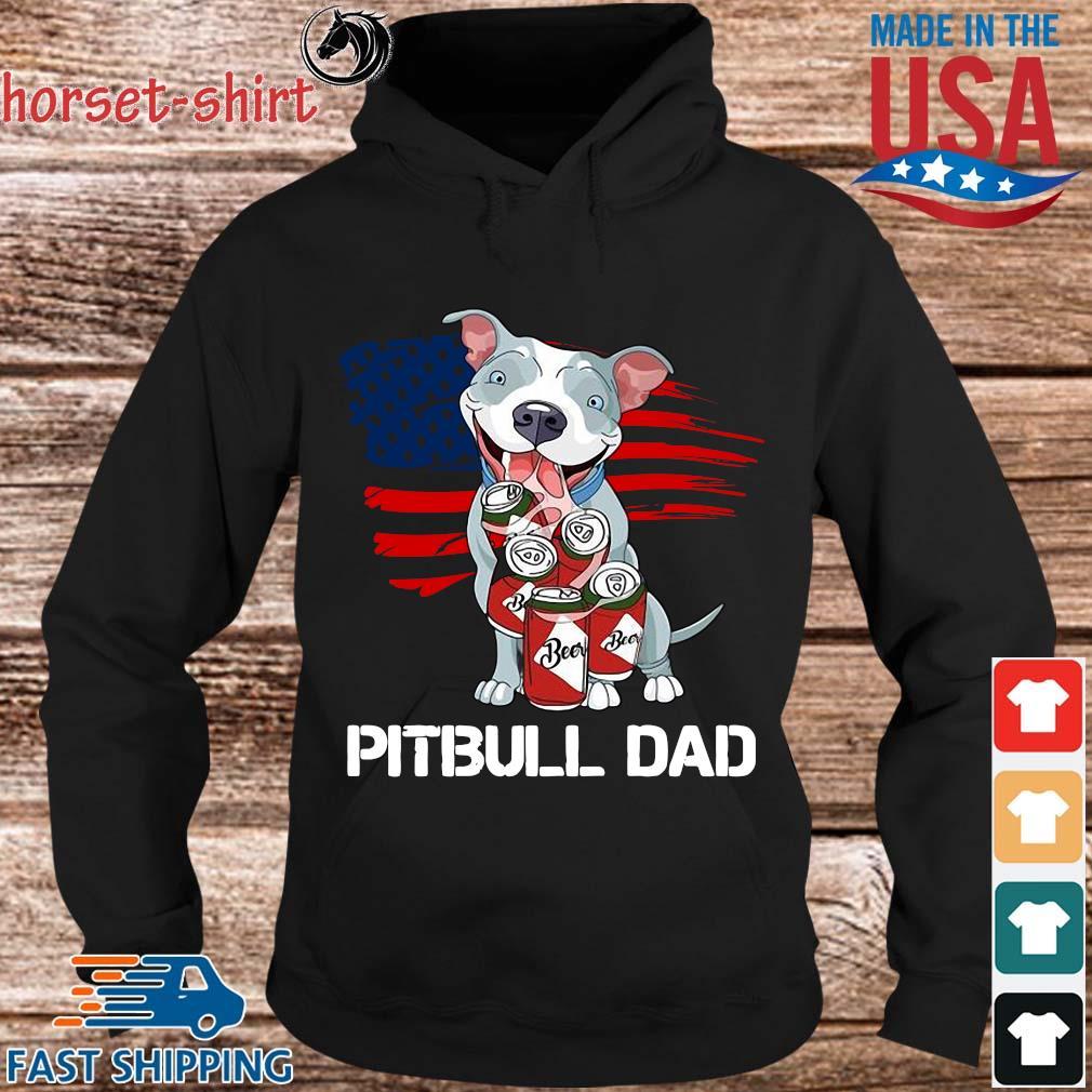 Pitbull dad beer American flag s Hoodie den