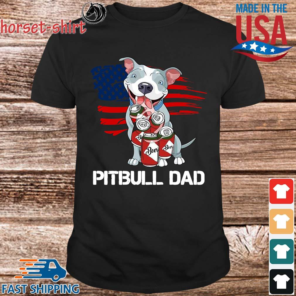 Pitbull dad beer American flag shirt