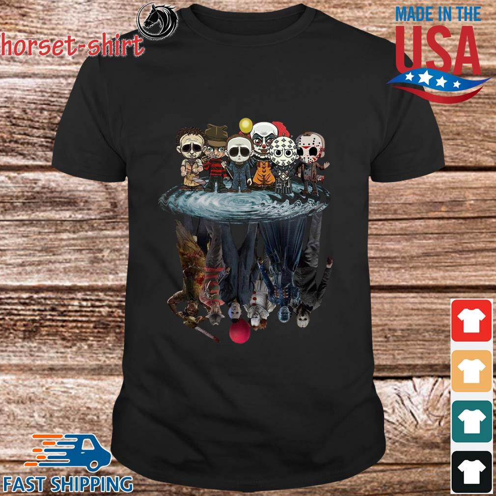 Horror characters water reflection mirror Halloween shirt