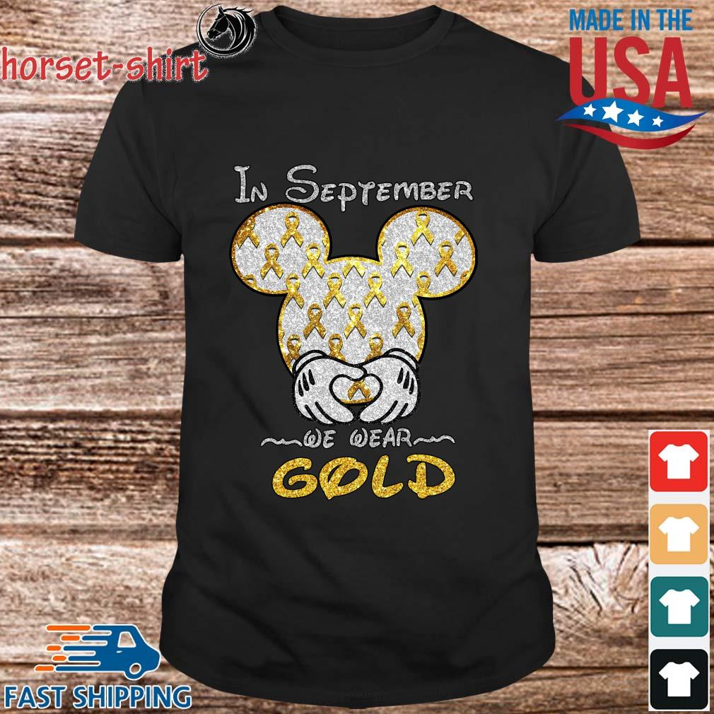Mickey mouse Childhood Cancer in September we wear gold shirt