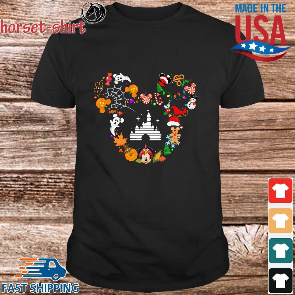 Disney movie Mickey Mouse Head Halloween and Merry Christmas shirt