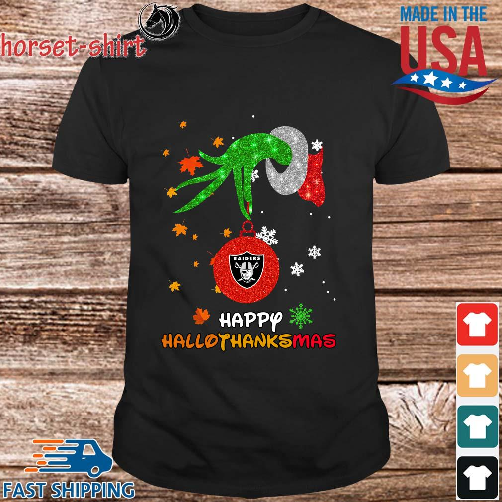 Grinch holding Las Vegas Raiders happy Hallothanksmas shirt