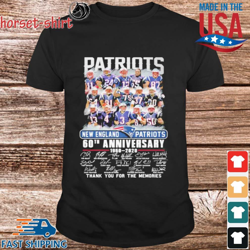 New england patriots 60th anniversary 1960 2020 thank for the memories signatures shirt