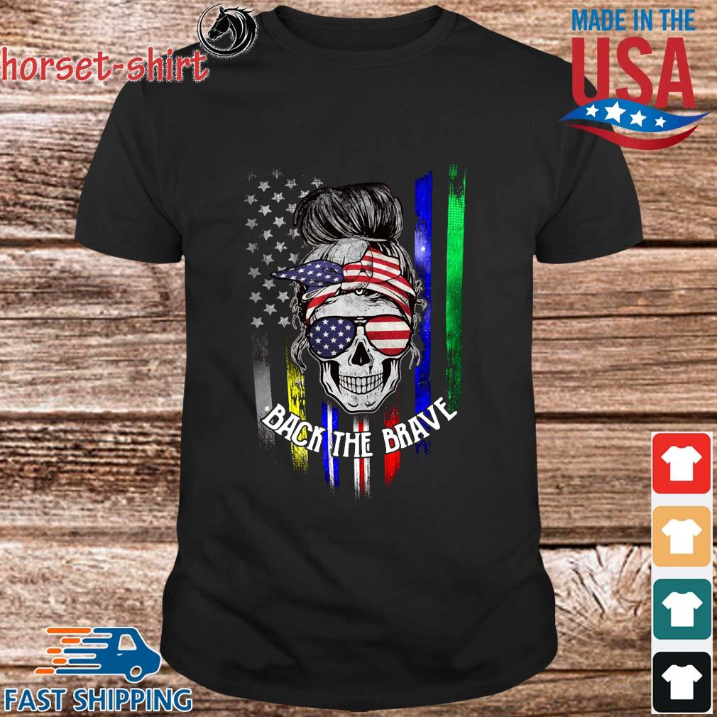 Skull back the brave American flag shirt