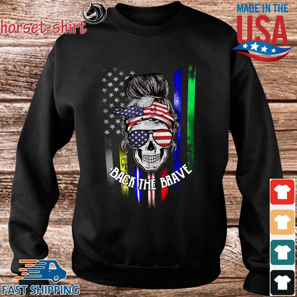 Skull back the brave American flag s Sweater den