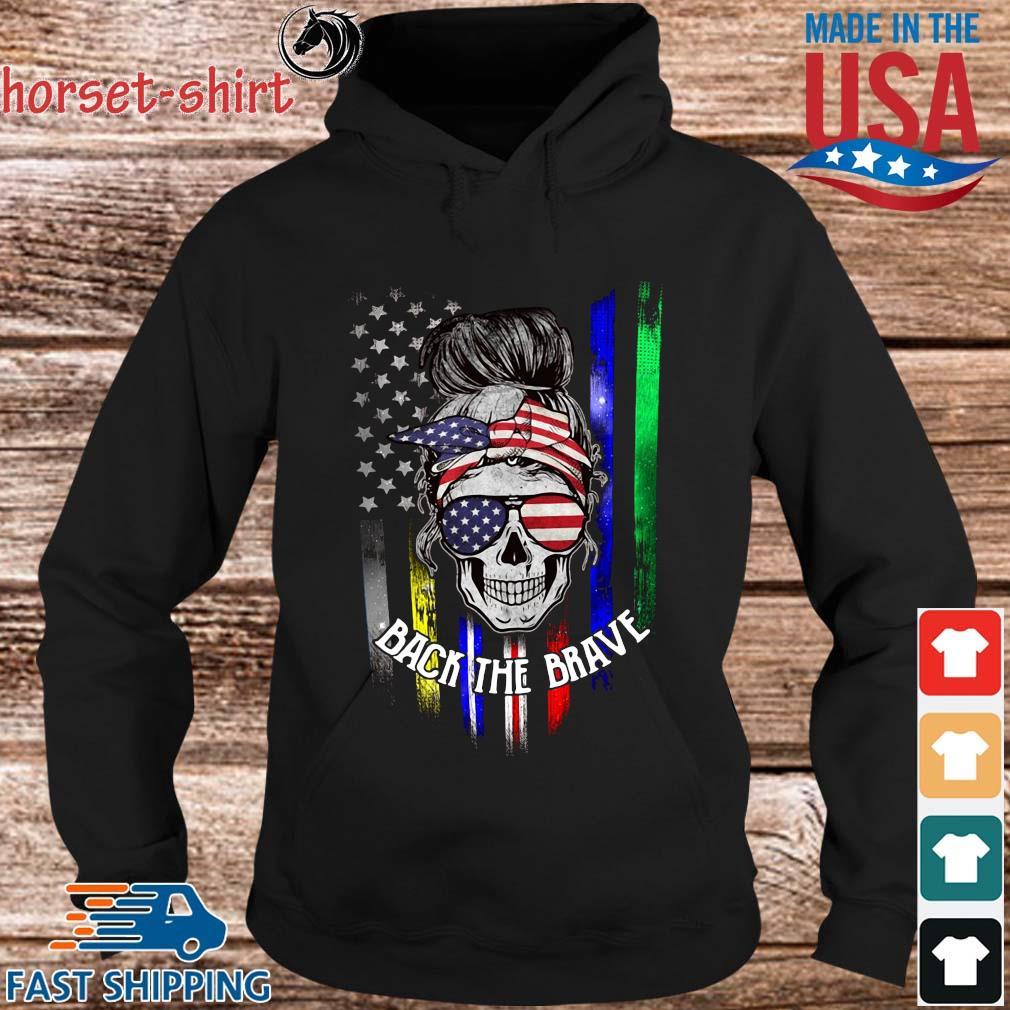 Skull back the brave American flag s hoodie den