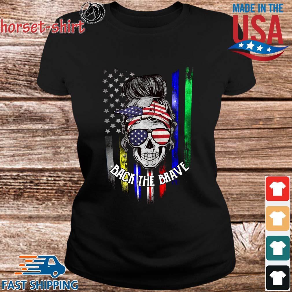 Skull back the brave American flag s ladies den