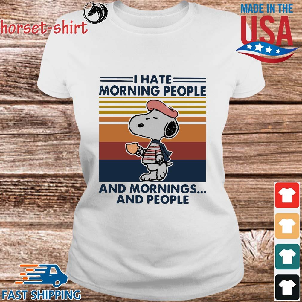 Snoopy I hate morning people and mornings and people vintage T-s Ladies trang