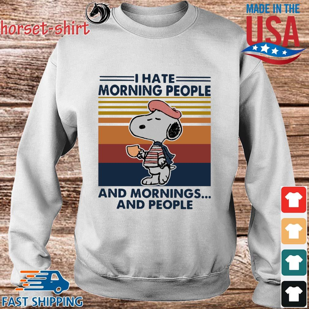 Snoopy I hate morning people and mornings and people vintage T-s Sweater trang