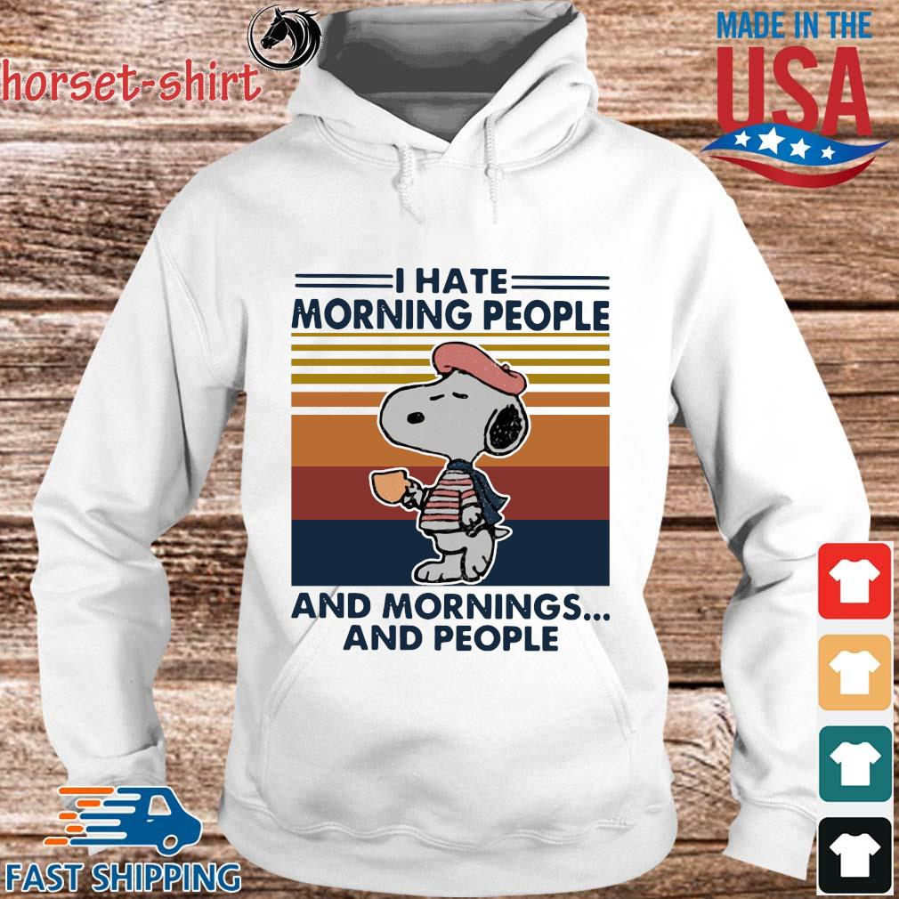 Snoopy I hate morning people and mornings and people vintage T-s hoodie trang