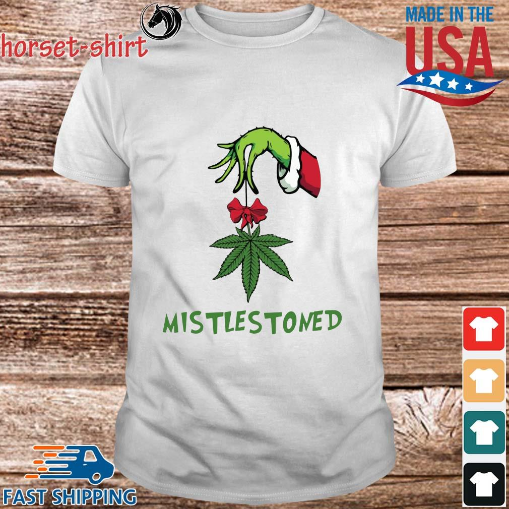 The Grinch hand holding weed mistlestoned Christmas sweater