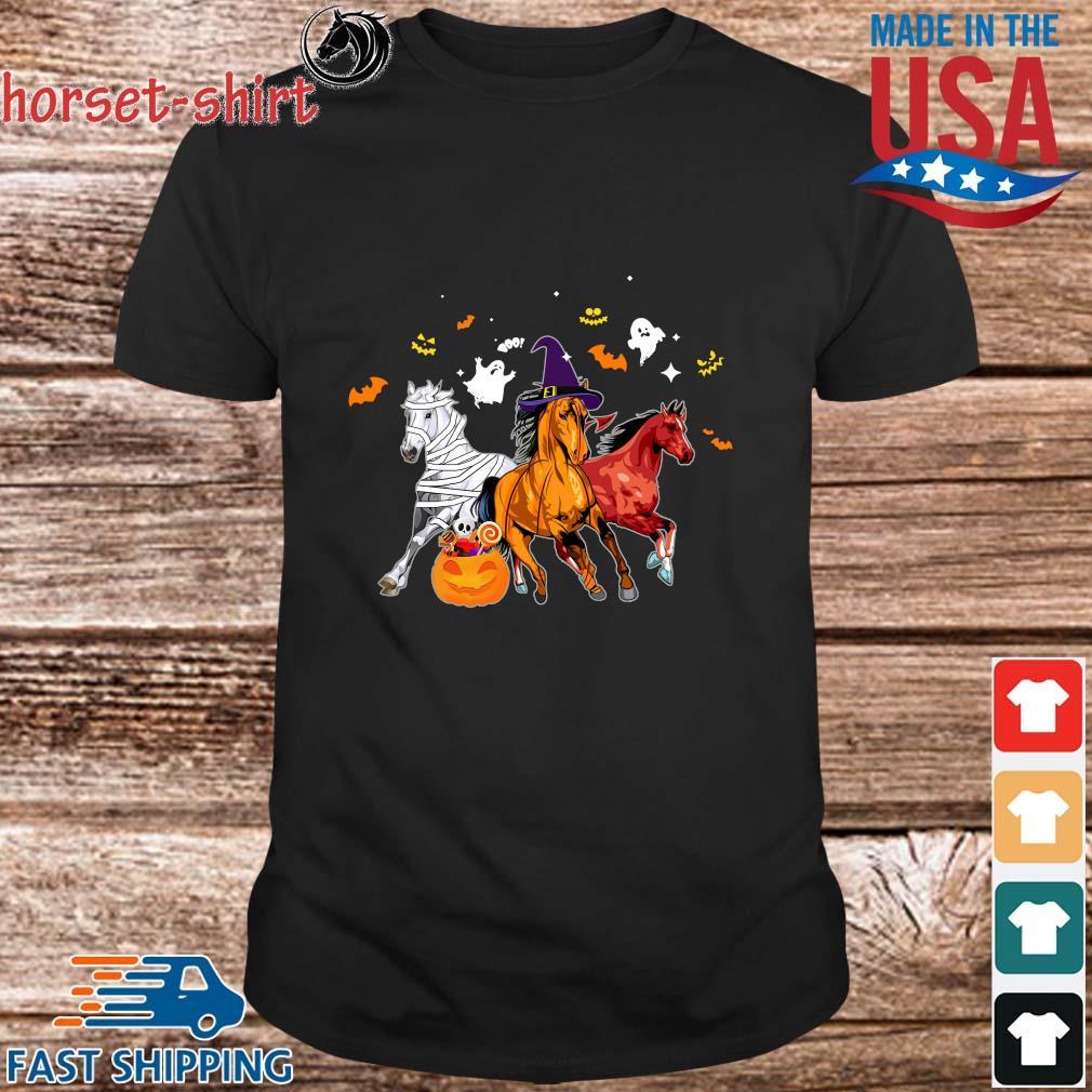 Three horses pumpkin happy Halloween shirt