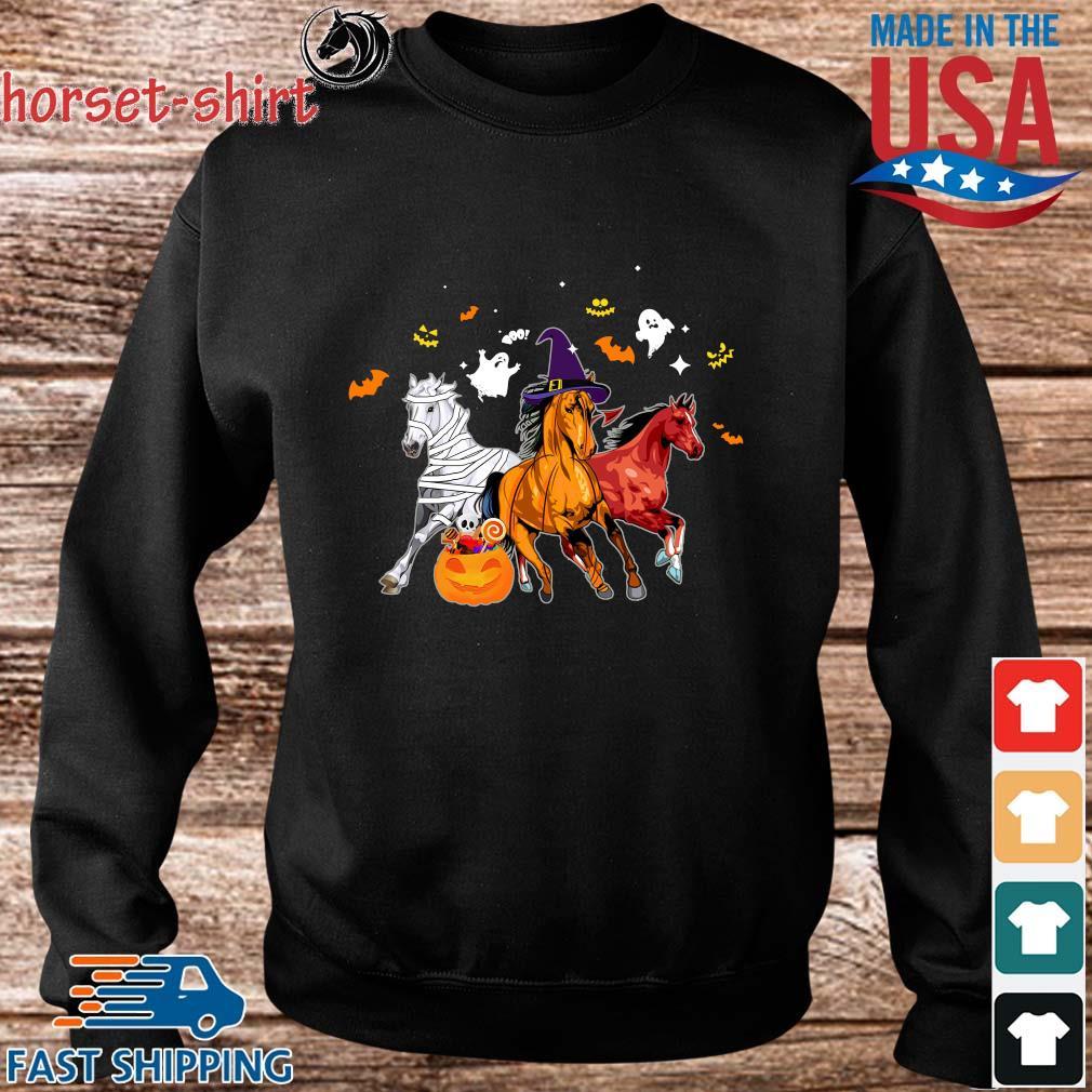 Three horses pumpkin happy Halloween s Sweater den