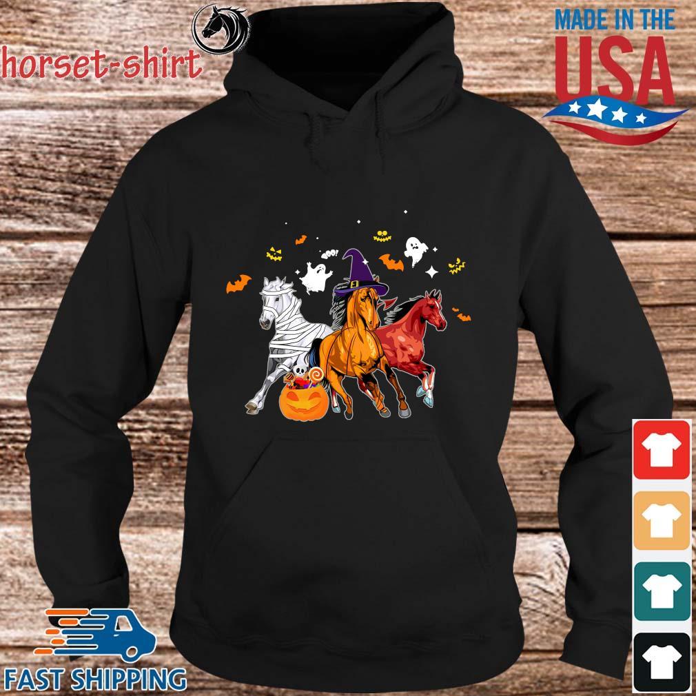 Three horses pumpkin happy Halloween s hoodie den