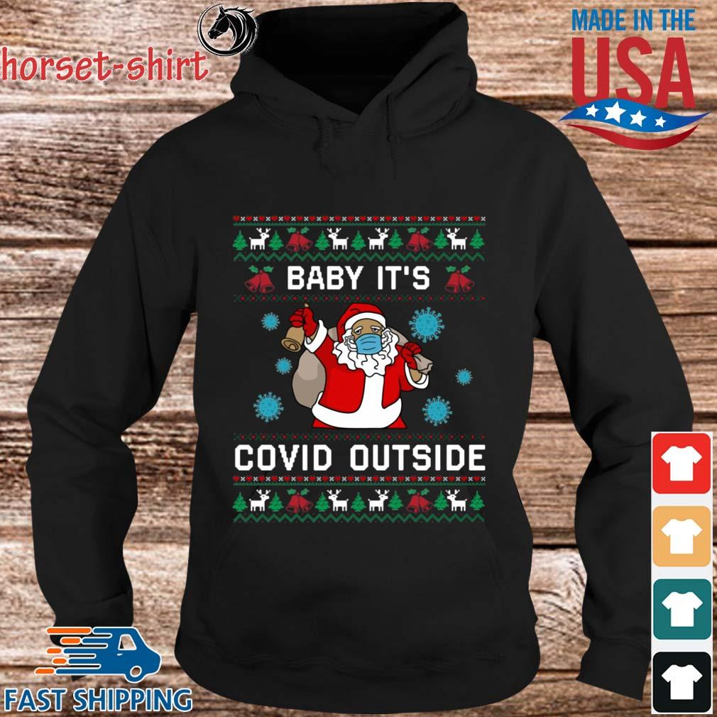 Santa face mask baby it's Covid outside Ugly Christmas sweater hoodie den