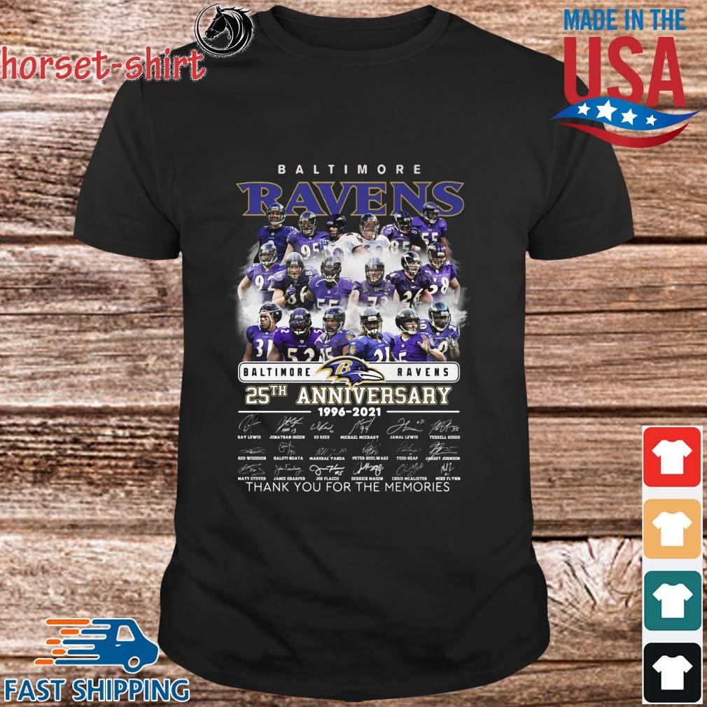 Baltimore Ravens 25th anniversary 1996-2021 layer thank you for the memories signatures shirt