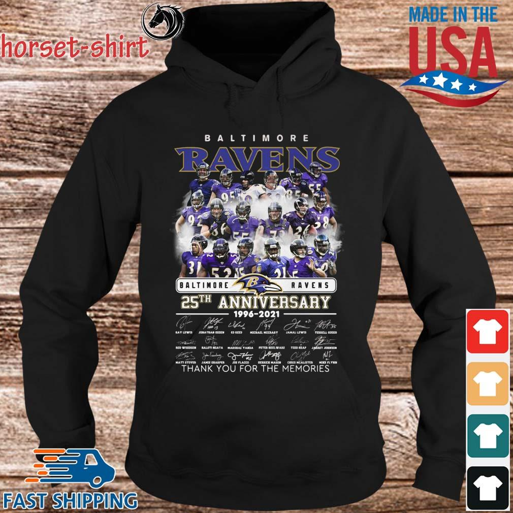 Baltimore Ravens 25th anniversary 1996-2021 layer thank you for the memories signatures s hoodie den