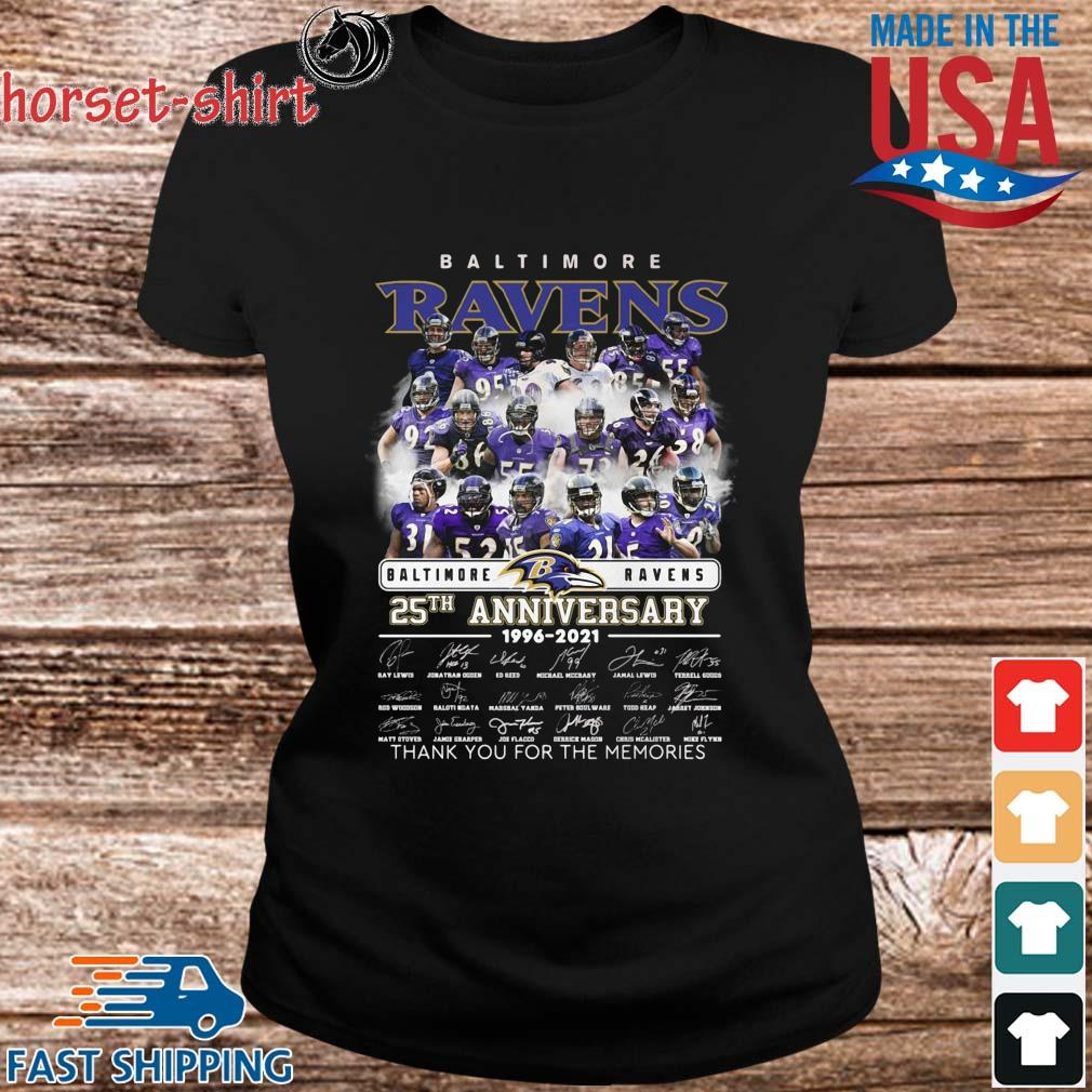 Baltimore Ravens 25th anniversary 1996-2021 layer thank you for the memories signatures s ladies den