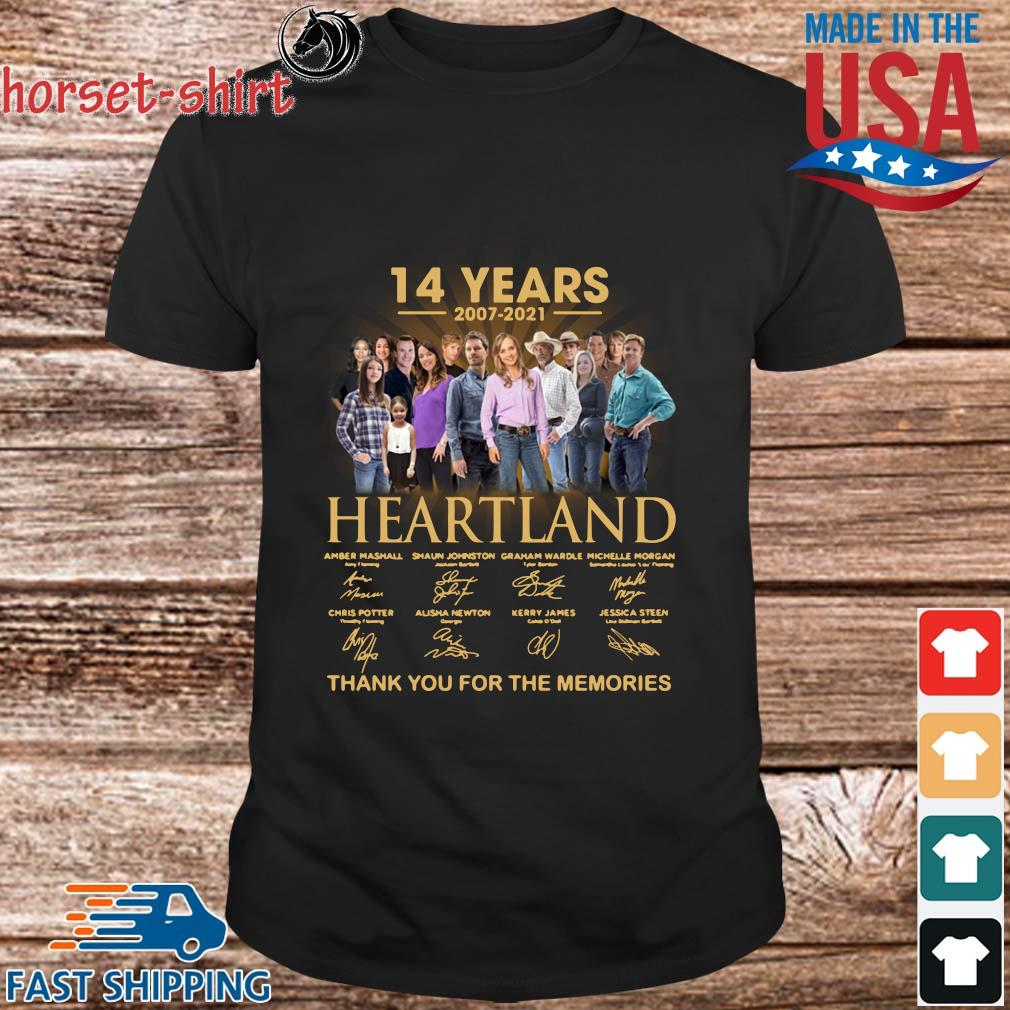 14 years of 2007-2021 Heartland thank you for the memories signatures shirt