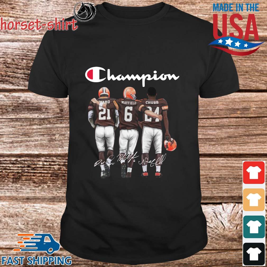 Cleveland Browns Champions Mayfield Chubb signatures shirt