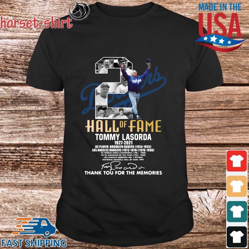 Los Angeles Dodgers 2 hall of fame Tommy Lasorda 1937-2021 thank you for the memories signature shirt