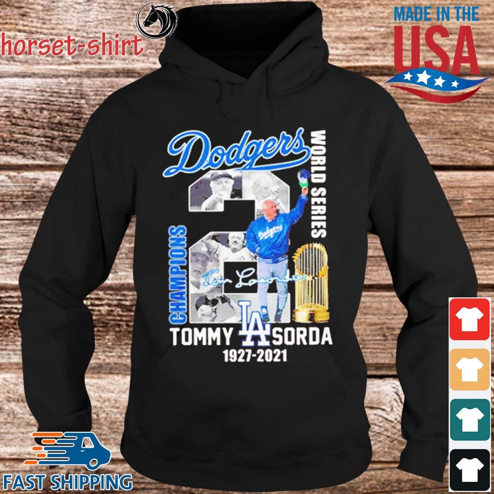 Los Angeles Dodgers world series Champions Tommy Lasorda 1927-2021 signature s hoodie den