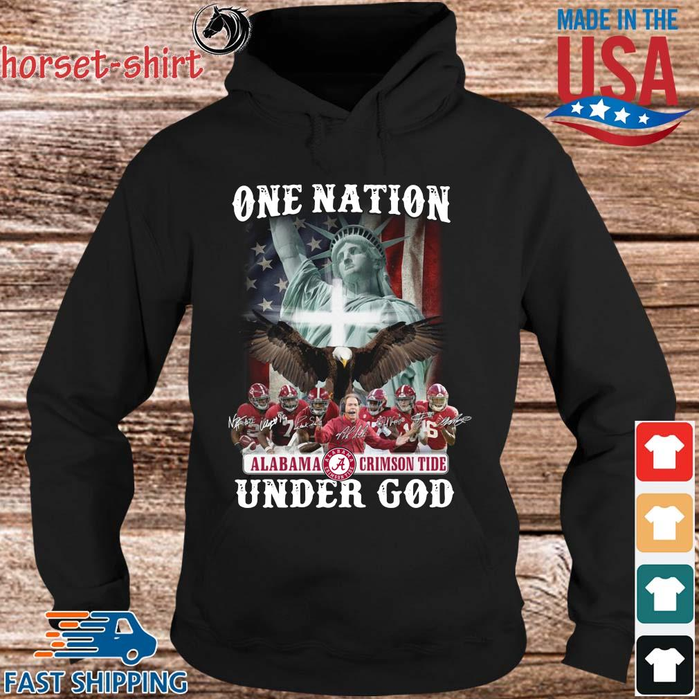 One nation Alabama Crimson Tide under god signatures s hoodie den