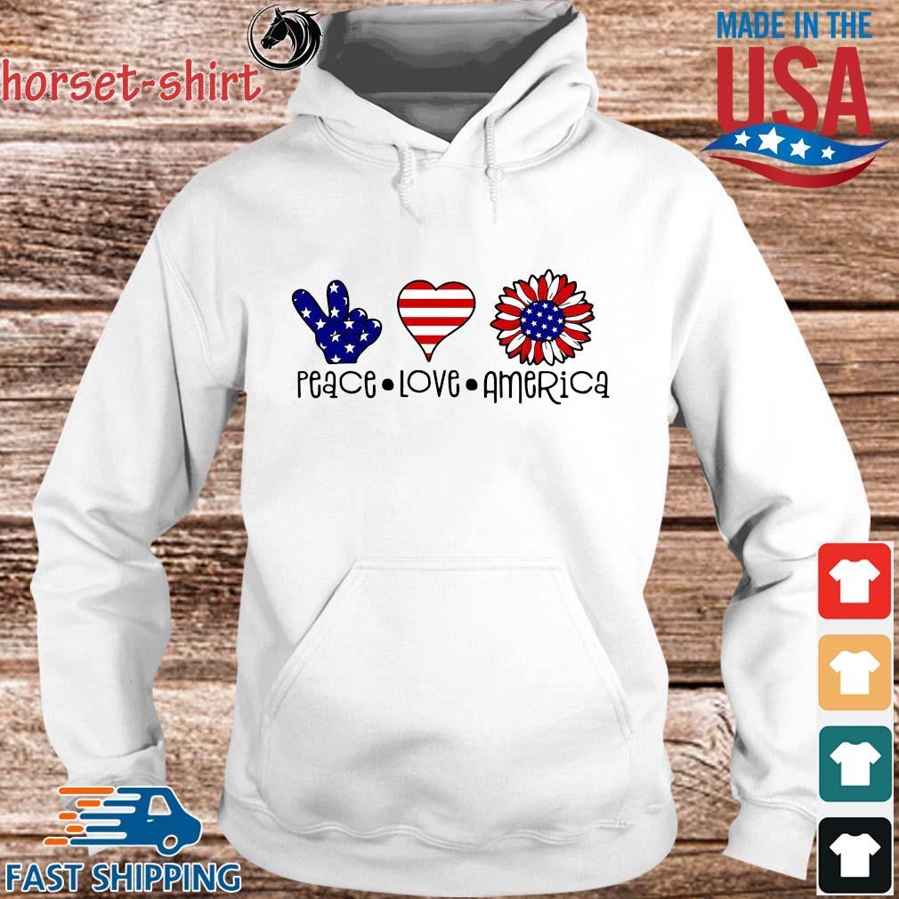 Peace Love Sunflower America s hoodie trang