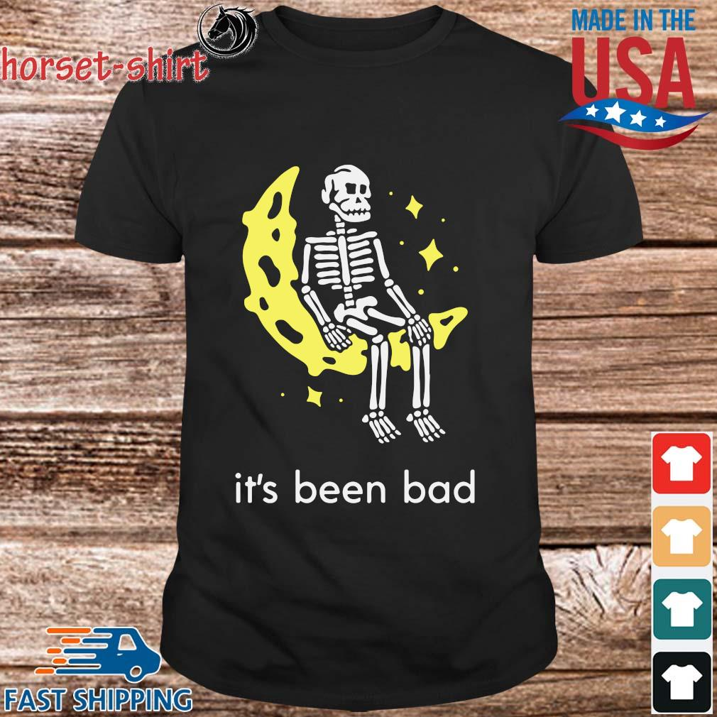Skeleton sitting moon it's been bad shirt
